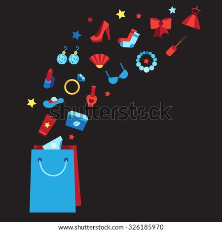 Woman things, accessories, cosmetics, clothes, shoes and jewelry. Big sale poster with bag. Shopping concept. Vector