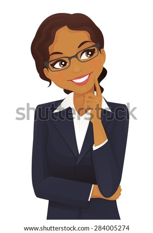 Woman thinking - stock vector