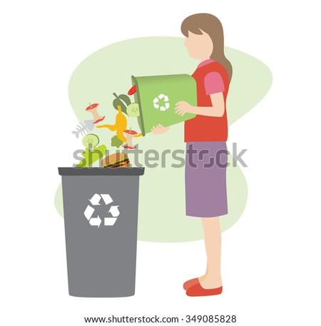 woman throw organic garbage away in container - stock vector