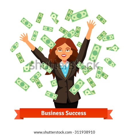 Woman throwing green dollar cash money in the air or standing in the banknote rain. Flat style vector illustration isolated on white background. - stock vector