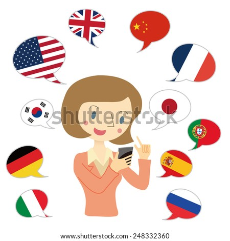 Woman to use translation app - stock vector