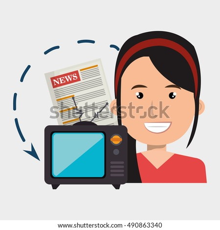 woman tv reportage news