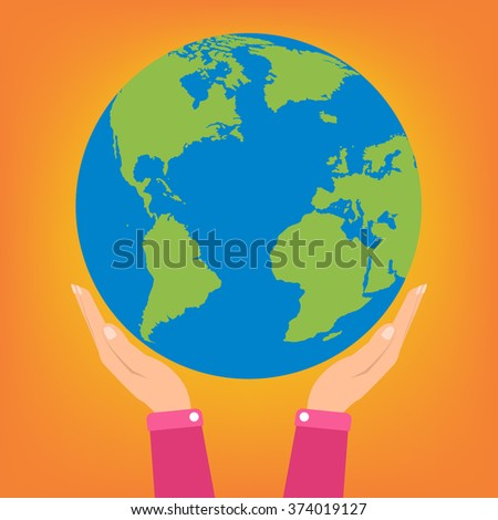 Woman two hands holding globe earth on orange background. Vector illustration  love and save earth concept design.