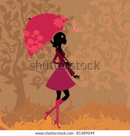 woman under an umbrella in the autumn - stock vector
