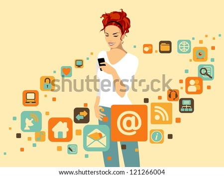 Woman using smartphone. Around it - social and media icons - stock vector