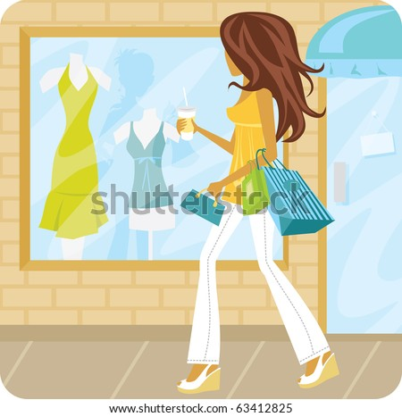 Woman walking down the street with shopping bags looking in the window of a store. - stock vector