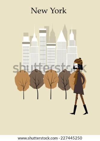Woman walking in the park in New York. Vector - stock vector