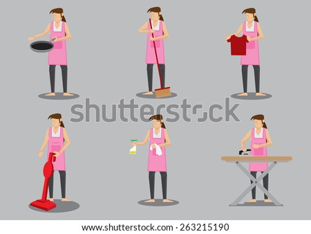 Woman wearing apron doing common household chores. Set of six vector cartoon illustration isolated on grey background. - stock vector