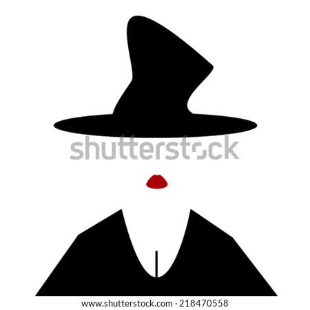 woman wearing witches hat and lipstick - stock vector