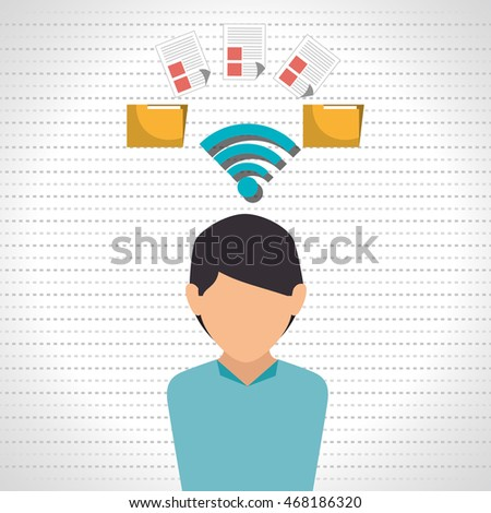 woman wifi file document vector illustration icon