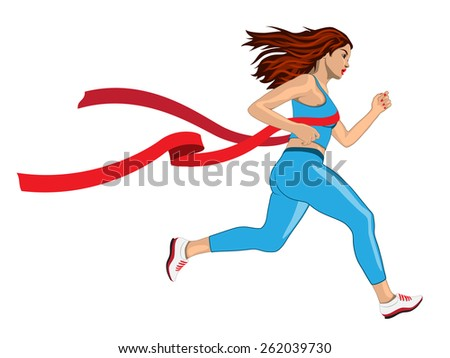 Woman Win her Run Competition with Red Ribbon of Finish Line - stock vector