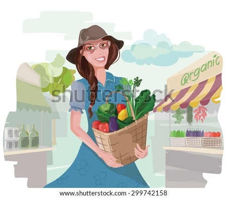 Woman with a basket of fresh organic vegetables in vector illustration