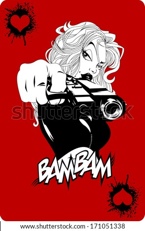 woman with a gun on a background of game cards, vector - stock vector