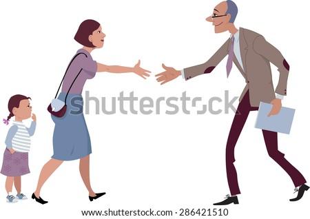 Woman with a little girl meets a teacher, vector cartoon, no transparencies, EPS 8 - stock vector