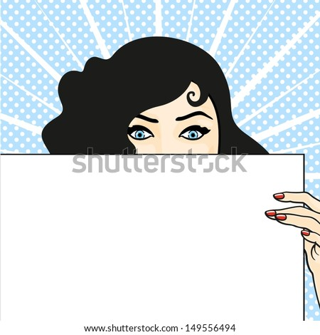 Woman with a sheet of paper, expressing surprise - stock vector