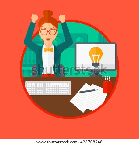 Woman with arms up having business idea. Woman working on a computer with a business idea bulb on a screen. Business idea concept. Vector flat design illustration in the circle isolated on background. - stock vector