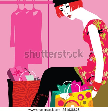 Woman with bags in shopping mall - stock vector