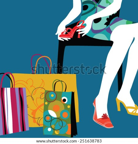 Woman with bags in shopping mall looking at fashionable high heels.