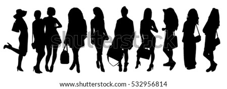 Woman with bags silhouettes