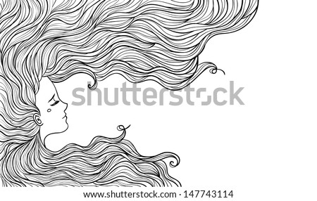 Woman with beautiful hair - stock vector