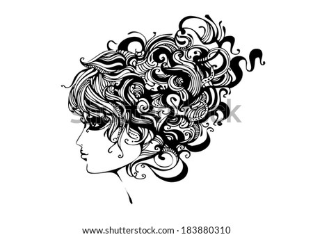 Woman with big retro hair illustration - stock vector
