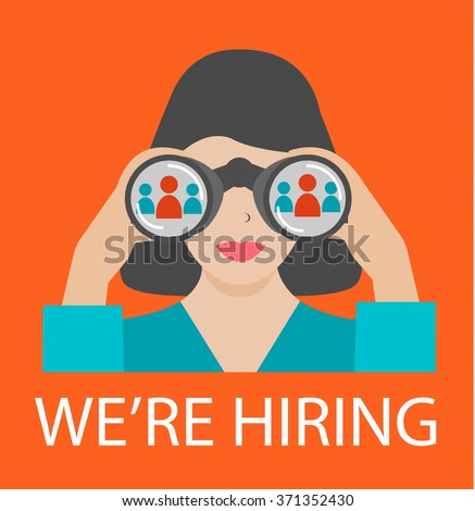 Woman with binoculars looking for the best suited employee. HR, recruiting, we are hiring concepts, vector illustration. - stock vector