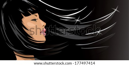woman with black hair - stock vector