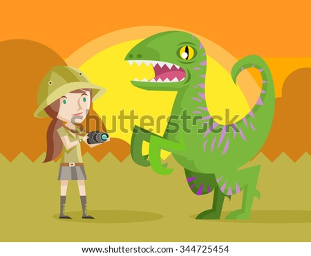 woman with camera and dinosaur raptor - stock vector