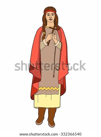 Woman with cross and rosary
