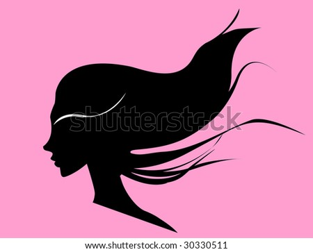 woman with curly black hair - stock vector