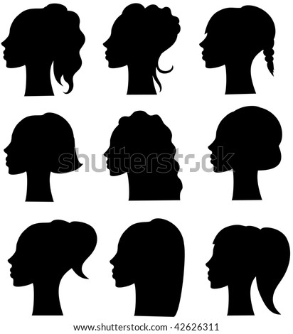woman with curly black hair. beautiful girl. - stock vector
