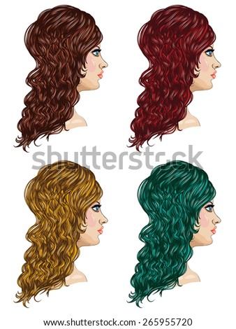 Woman with curly hair style, fashion illustration. - stock vector