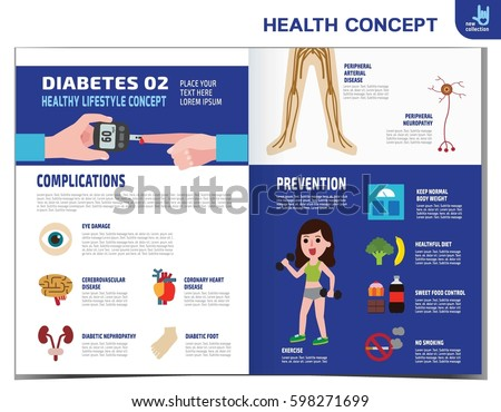 Woman With Diabetes. Diabetic Infographics Elements. Medical Healthcare  Concept. Obese. Vector Flat