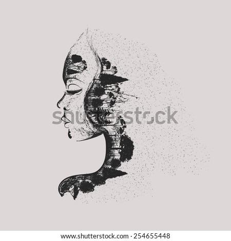 woman with dry trees and dark forests on the face dark art - stock vector