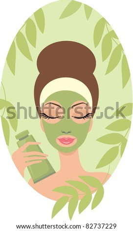 Woman with facial mask. vector, color full, no gradient - stock vector