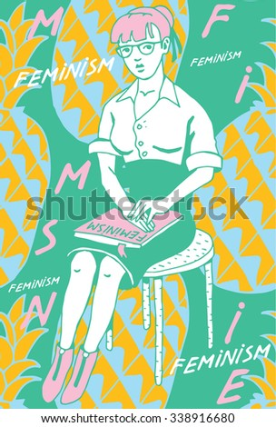 Woman with Feminist book in background with doodle Pineapples.Vector Illustration. - stock vector