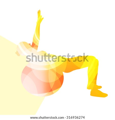 Woman with fitness ball silhouette illustration vector background colorful concept made of transparent curved shapes - stock vector