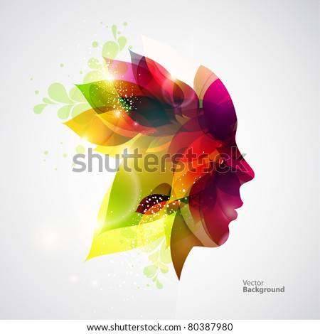 Woman with flowers. - stock vector