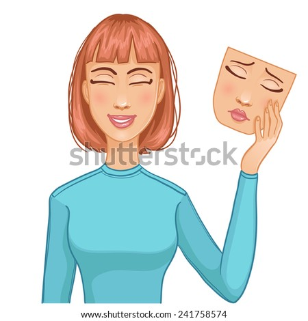 Woman with happy face and mask of sad face in her hand, eps10 - stock vector
