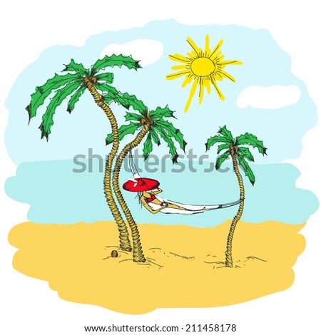 Woman with hat lying in a hammock. Illustration. Doodle - stock vector