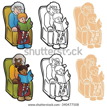 Woman with her grandchild in her lap, reading a book. In full color, black outline, and reverse for printing on dark backgrounds. - stock vector
