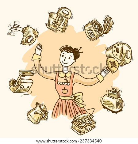 Woman with kitchen equipment and appliances hand drawn vector illustration - stock vector