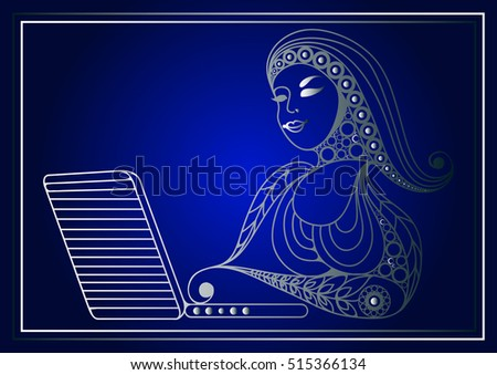 Woman with laptop. Suitable for invitation, flyer, sticker, poster, banner, card,label, cover, web. Vector illustration.