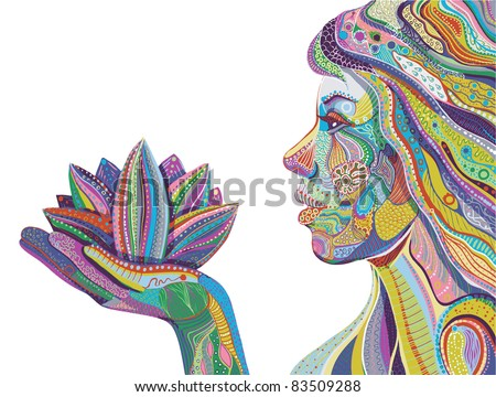 woman with lotus flower, bright ornate pattern vector - stock vector