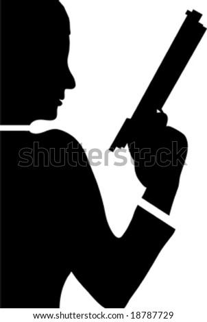 woman with revolver isolated on white background
