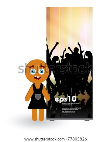 Woman with roll up in background - stock vector
