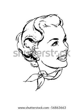 Woman With Scarf - Retro Clip Art - stock vector