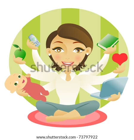 Woman with six arms holding an apple, baby, book, cellphone, computer and heart