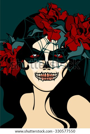 Woman with skull makeup and cobweb veil - stock vector