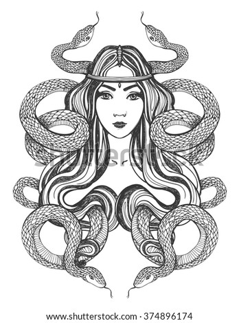 Woman with snakes. Tattoo art, coloring books. Hand drawn vector illustration Isolated on white background. - stock vector
